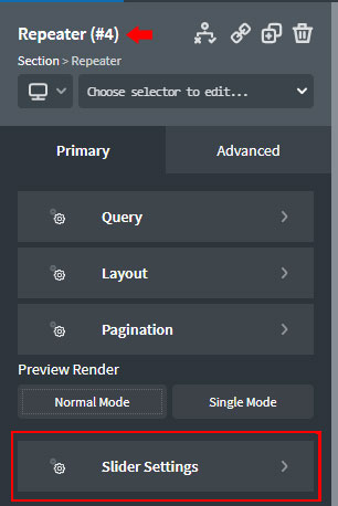 Slider Settings in Repeater component