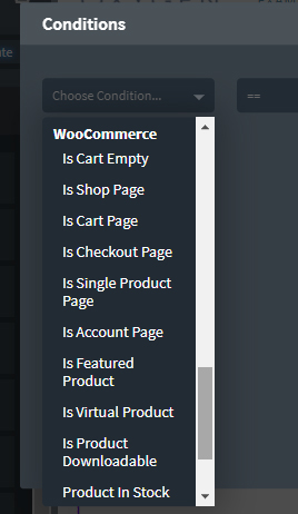 Conditions for WooCommerce