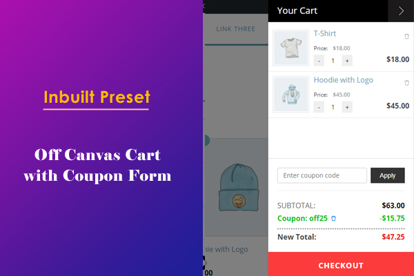 Off Canvas Cart Panel with Coupon Form