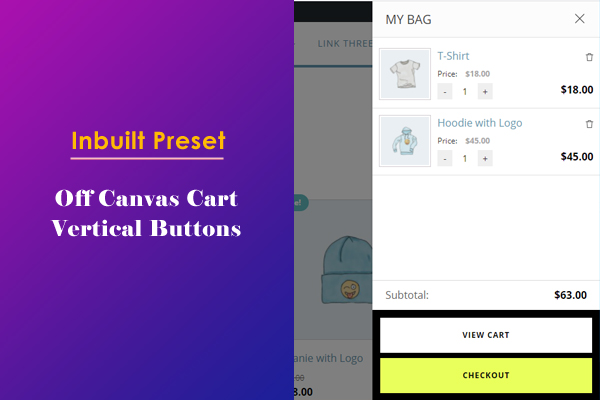 Off Canvas Cart Panel with Vertical Buttons